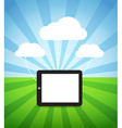 modern gadget with media clouds vector image vector image