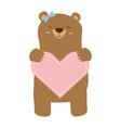 mom bear holding heart vector image