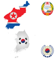 North and South Korea vector image vector image
