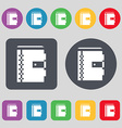 notebook icon sign A set of 12 colored buttons vector image