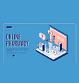 online pharmacy isometric web banner healthcare vector image vector image