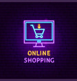 online shopping neon label vector image