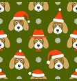 pattern with dogs with santa hats vector image vector image