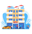 people arrive to hotel men and women with baggage vector image vector image