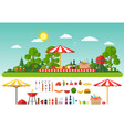 picnic on nature set of elements for outdoor vector image vector image