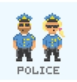Police couple in pixel art style vector image vector image