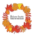 Round frame with fall leaves - maple oak rowan vector image vector image