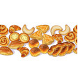 seamless horizontal border with variety bakery vector image vector image