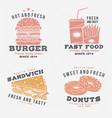 set fast food retro badge design vintage vector image