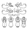 set of different icons of angels vector image