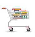 shopping cart with books e-book store symbol vector image