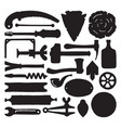 sketched carpenter tools and symbols set vector image