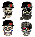 Skull with beard and smoking pipe vector image