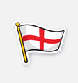 sticker flag england on flagstaff vector image