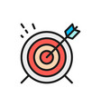 target goal flat color line icon vector image