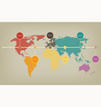 timeline map of the world in soft vintage vector image vector image