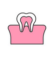 tooth and gum dental related filled outline icon vector image