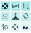 travel icons set with pinpoint lifebuoy island vector image vector image
