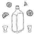 whiskey cognac or brandy bottle and shot glass vector image vector image