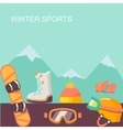 Winter background Mountains and snowboard vector image vector image