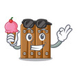 with ice cream character close up on wooden fence vector image