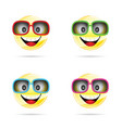 smiley with sunglasses in four colors vector image