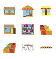 assembly flat shading style icons shop interior vector image vector image