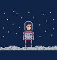 astronaut pixel game style cosmonaut vector image