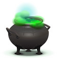 big black cauldron cook green magic potion vector image
