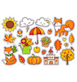 big set of cute autumn plants foxes clouds vector image