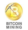 bitcoin mining with pickaxe on golden bitcoin logo vector image vector image