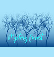 blue mystery forest trees vector image vector image
