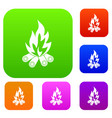 bonfire set color collection vector image