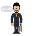 businessman with briefcase in hand vector image vector image