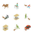 catch the animal icons set isometric style vector image vector image