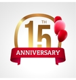Celebrating 15th years anniversary golden label vector image vector image