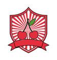 cherry fresh healthy food emblem vector image