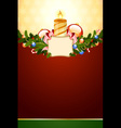 christmas card with candle vector image vector image