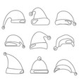 christmas hat set santa claus hats line design vector image vector image