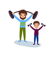 dad and son exercising with dumbbells sport vector image vector image