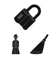 detective agency black icons in set collection for vector image