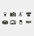 digital photography equipment icon set vector image vector image