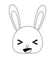 dotted shape happy rabbit head wild animal vector image vector image