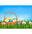 easter background easter eggs and flower vector image vector image