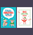 final christmas sale leaflet funny cartoon piglets vector image