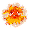fun burning flower with a funny face vector image vector image