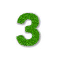 grass number three green 3d number three isolated vector image