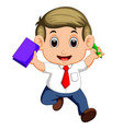 happy business man jumping in the air cheerfully vector image
