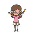 happy little girl cartoon character with pencil vector image vector image