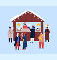 hot drinks kiosk flat seller vector image vector image